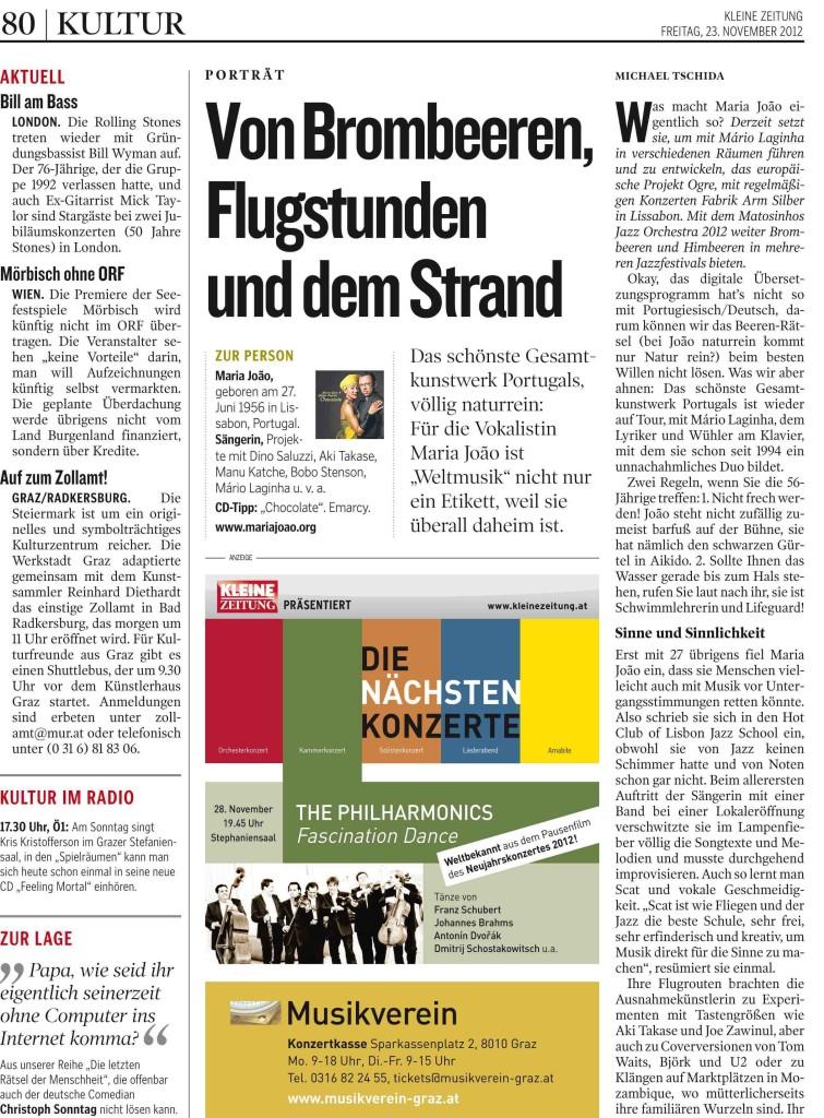 01 KLEINEZEITUNG GRAZ 20121123 Prod-Nr 163830   Seite 80     22.
