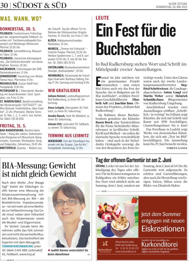 01 KLEINEZEITUNG SUEDOSTSTEIER 20130530 Prod-Nr 180281   Seite 3